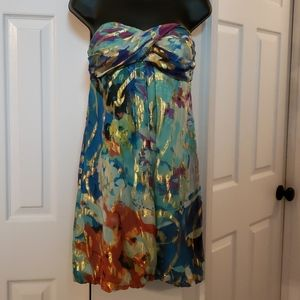 Cache strapless metallic pattern silky dress EUC